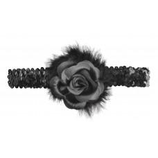 Black Flapper Headband with Rose Boa