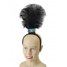Black Flapper Headband with 3 Feathers