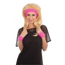 80s Headband/Wristband Set Pink