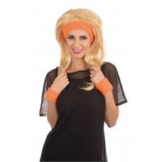 80s Headband Wristband Set Orange