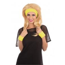 80s Headband/Wristband Set Yellow