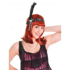 Black Flapper Headbands + Feathers