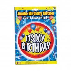 Birthday Jumbo Button Pin My Bday Red