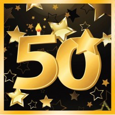 50th Birthday Napkins 13 ( 16 in pkt)